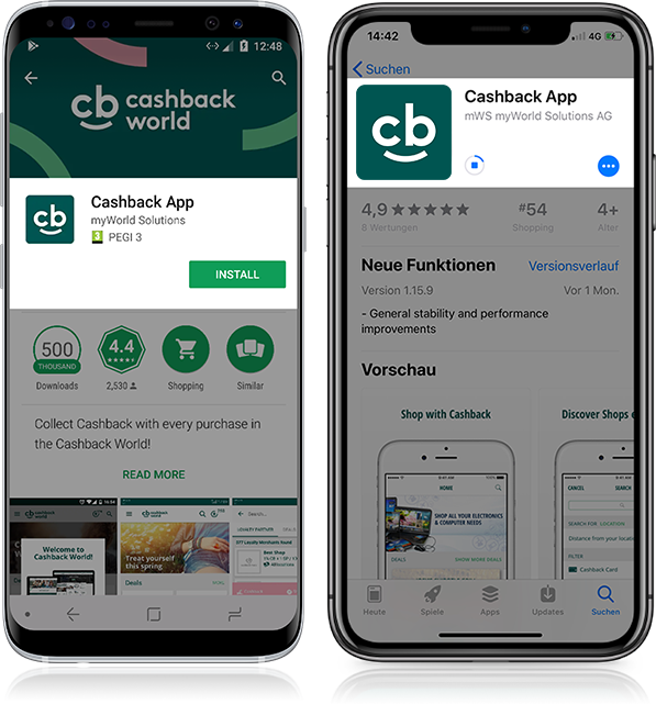 Install the Cashback App free of charge